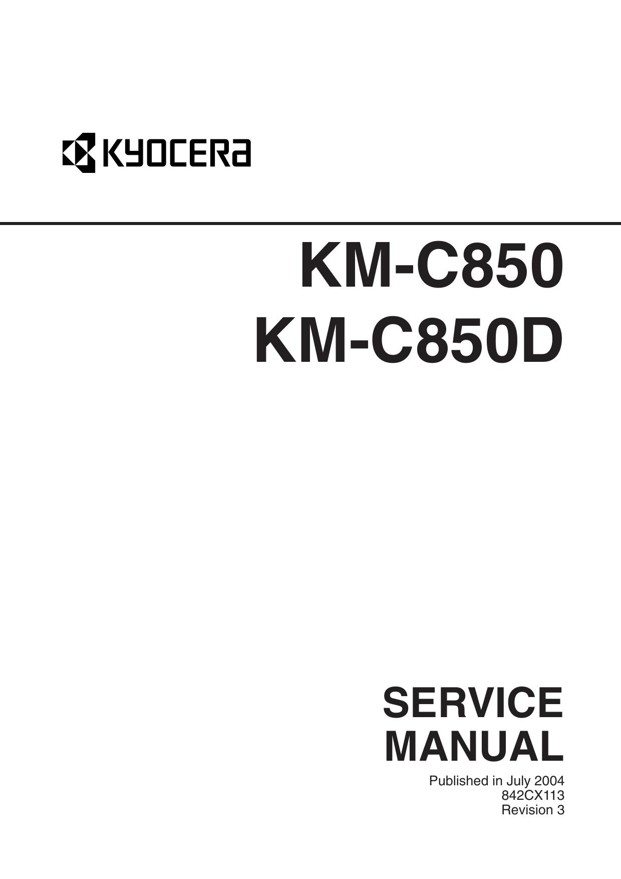 KYOCERA ColorCopier KM-C850 C850D Parts and Service Manual